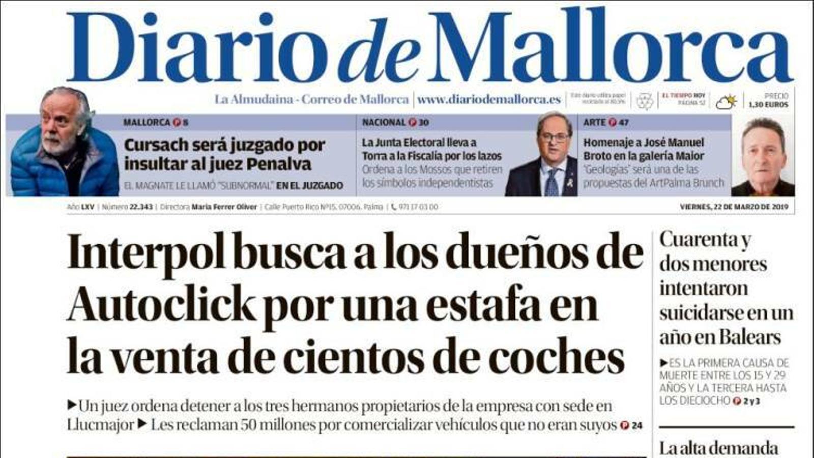 """""""Torra s'enfronta a dos anys d'inhabilitació pels llaços"""", portada de 'La Razón'"""