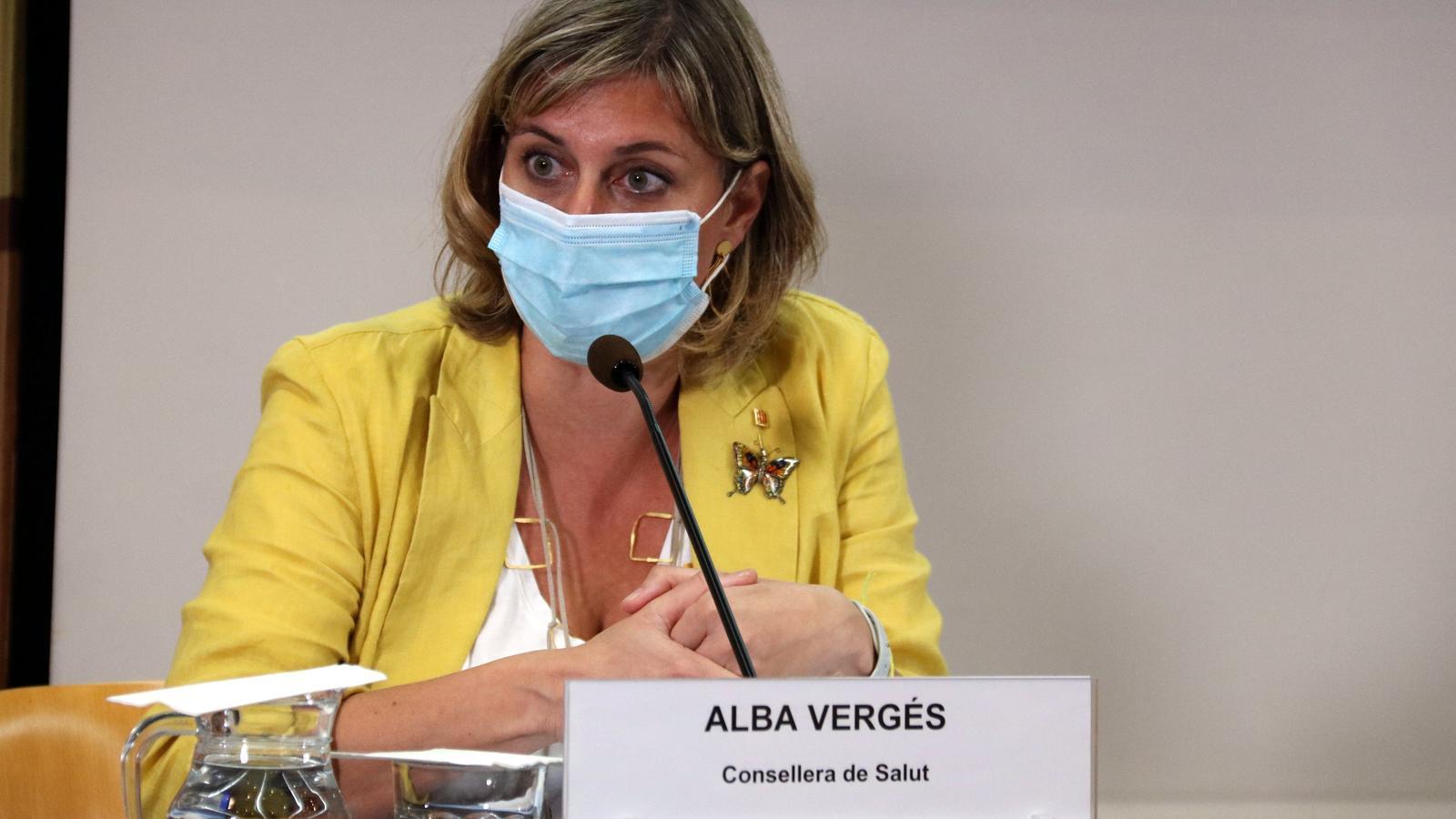 La consellera de Salut, Alba Vergés, durant una roda de premsa a principis de setembre
