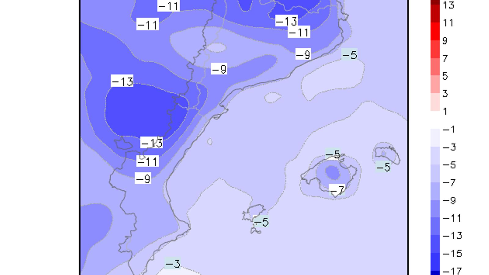 Baixada de temperatura prevista entre avui i diumenge