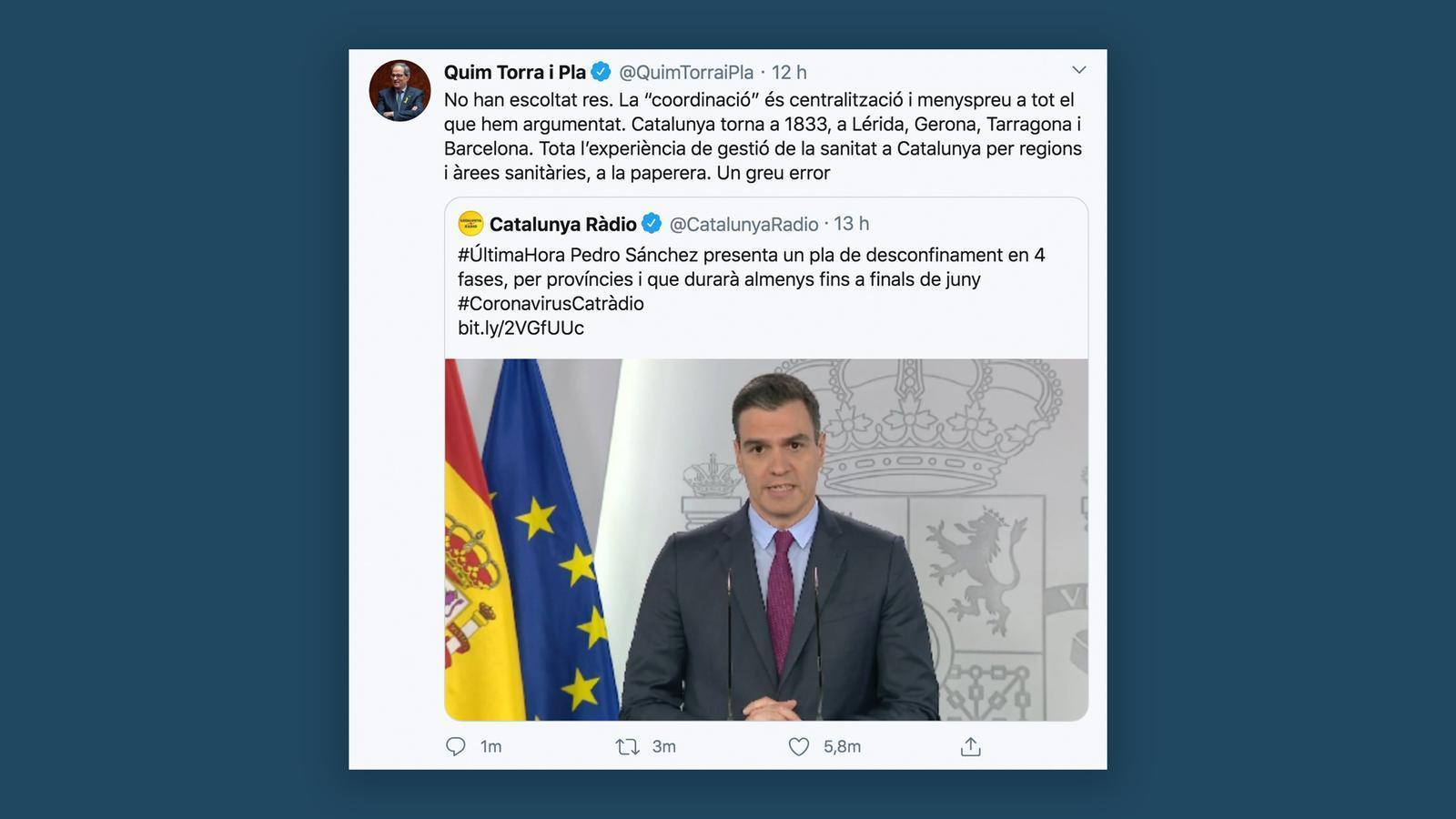 """Dilluns podran obrir les botigues i Sánchez converteix les províncies en """"unitat territorial ordinària"""": les claus del dia amb Antoni Bassas (29/04/2020)"""