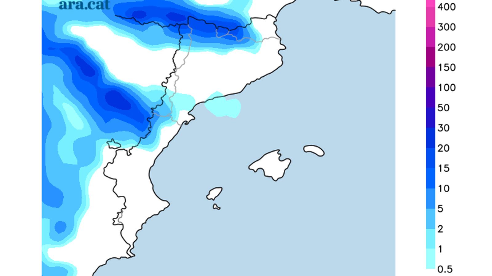 Acumulacions de precipitació previstes entre avui i demà