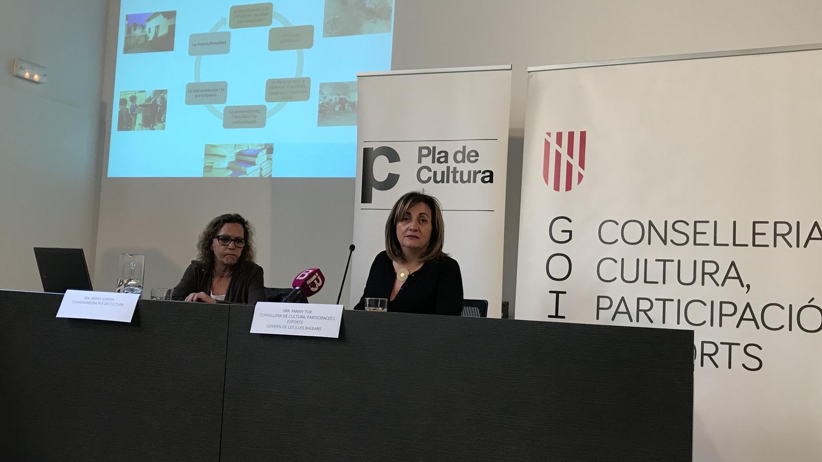 Berta Sureda i Fanny Tur presentant el document final del Pla de Cultura