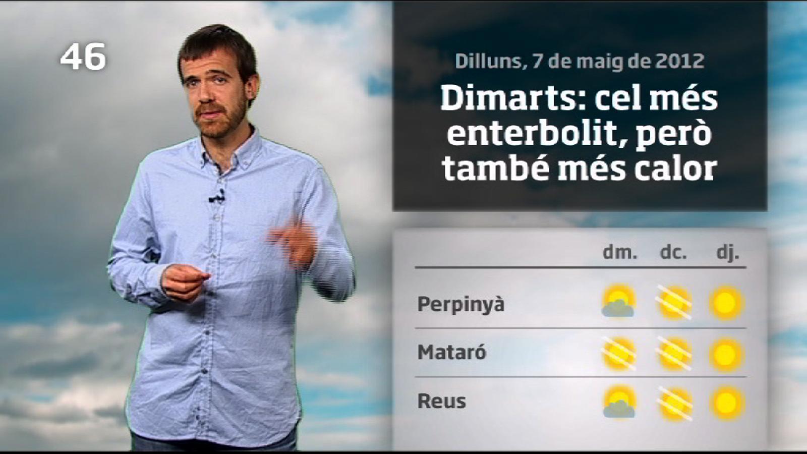 La méteo en 1 minut: més calor i més núvols prims (08/05/2012)