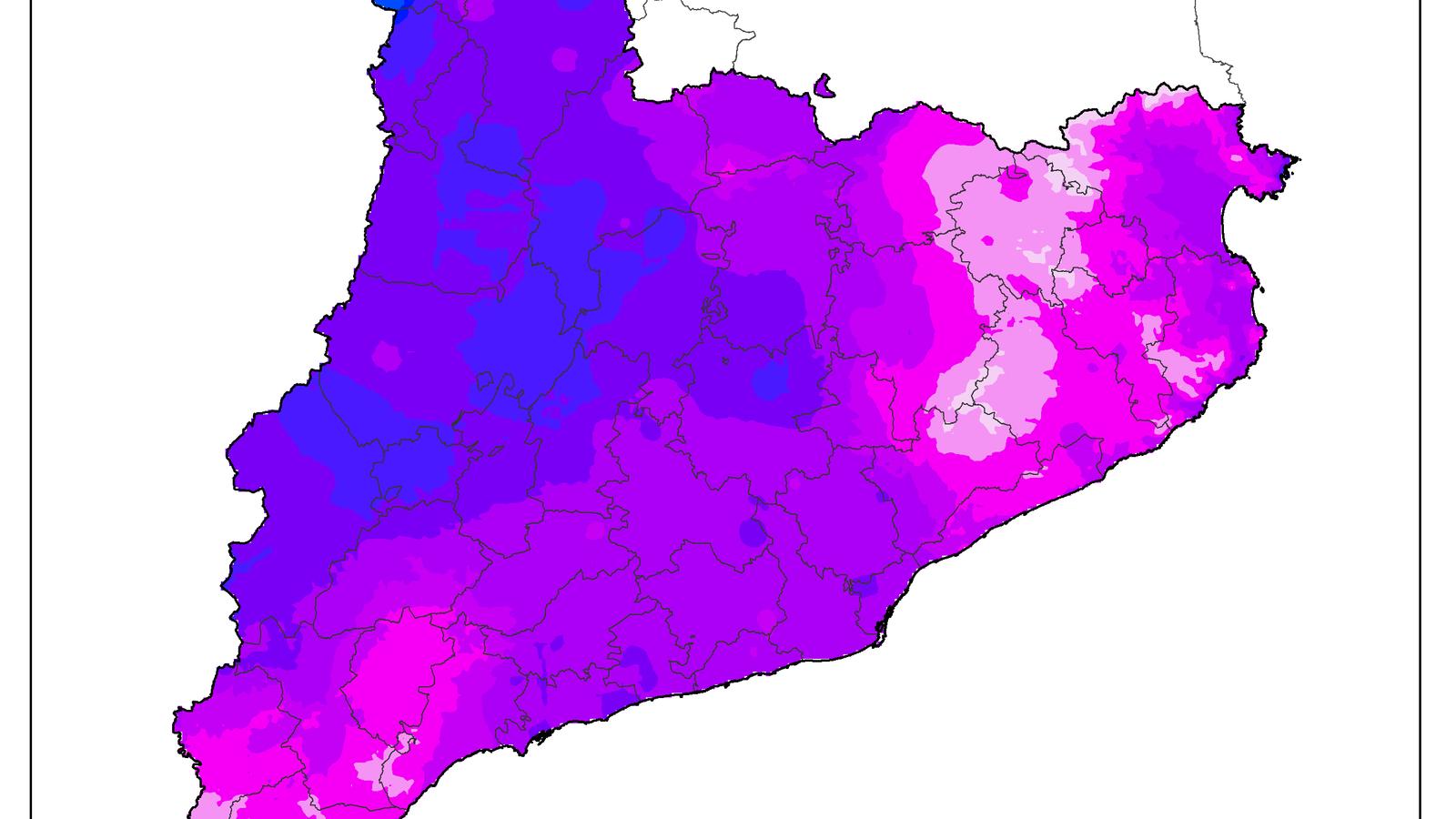 Totals de precipitació a partir de dades del Servei Meteorològic de Catalunya