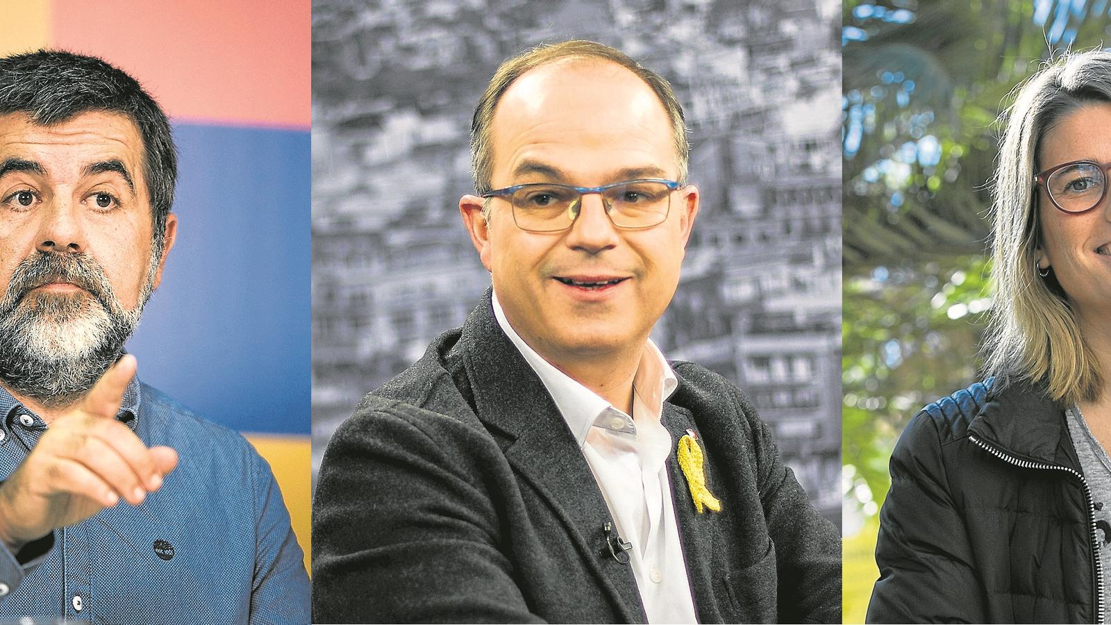 El president de l'ANC, Jordi Sànchez; el conseller de Presidència, Jordi Turull; i la portaveu de JxCat, Elsa Artadi.
