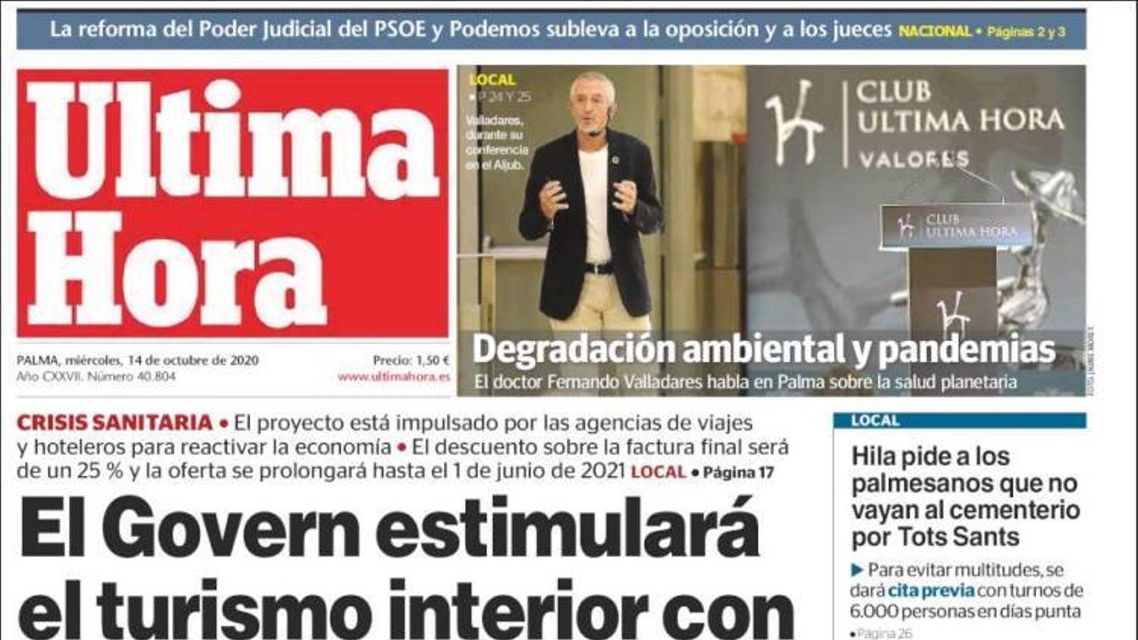 """""""El Govern estimularà el turisme interior amb bons per a residents"""", portada de l''Última Hora'"""