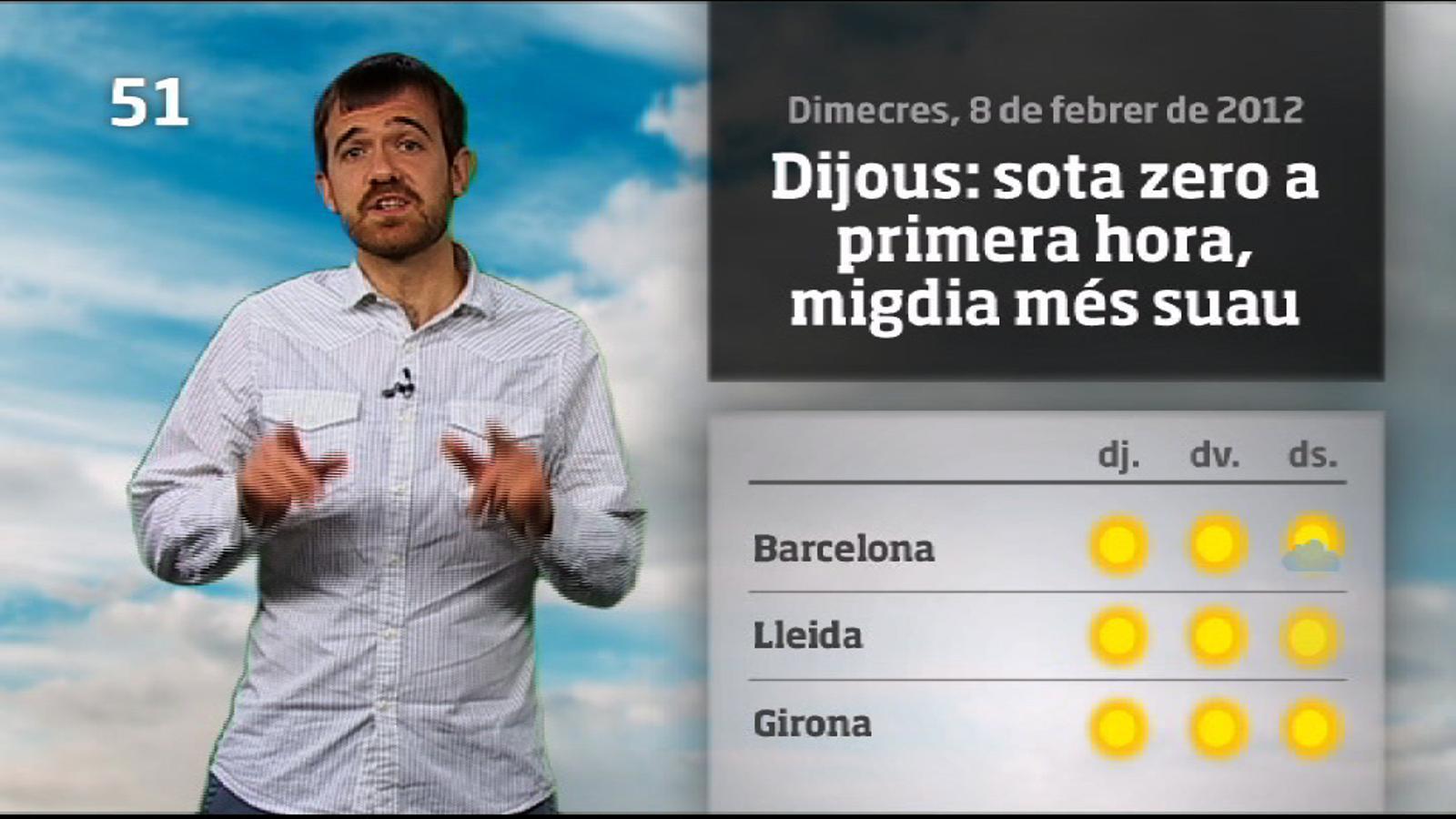 La méteo en 1 minut: sota zero al matí, migdia més suau (09/02/2012)