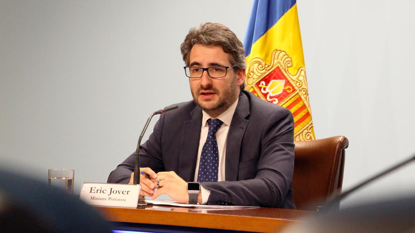 El ministre de Finances i Portaveu, Eric Jover, durant la roda de premsa posterior al consell de ministres. / M. P. (ANA)