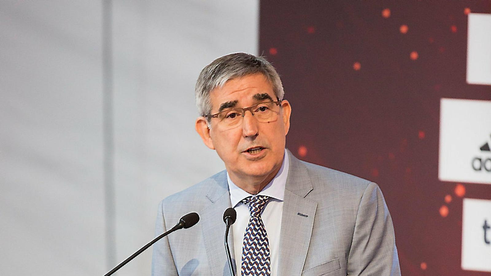 Jordi Bertomeu, president executiu de l'Eurolliga, durant l'acte inaugural.