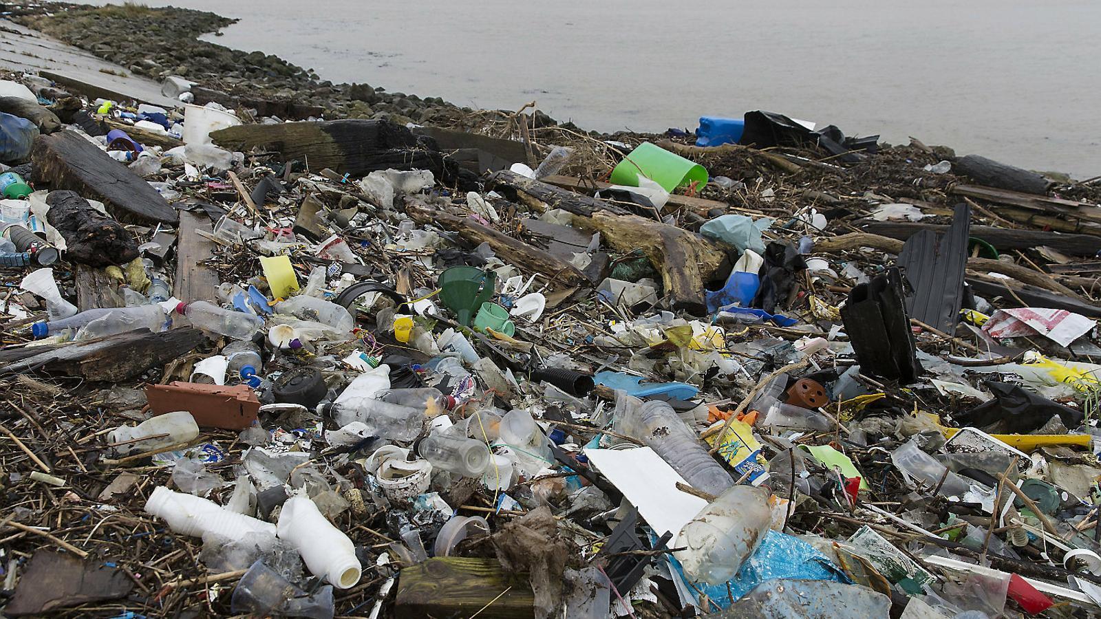 Tones de plàstics a l'estuari del riu Tàmesi (Regne Unit).