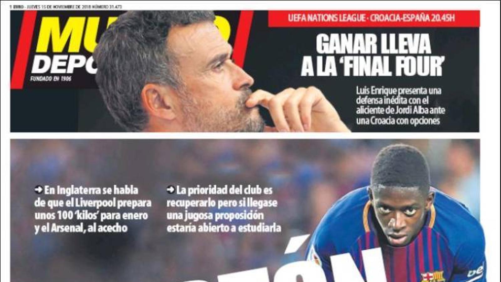 Portada 'Mundo Deportivo', 15/11/2018