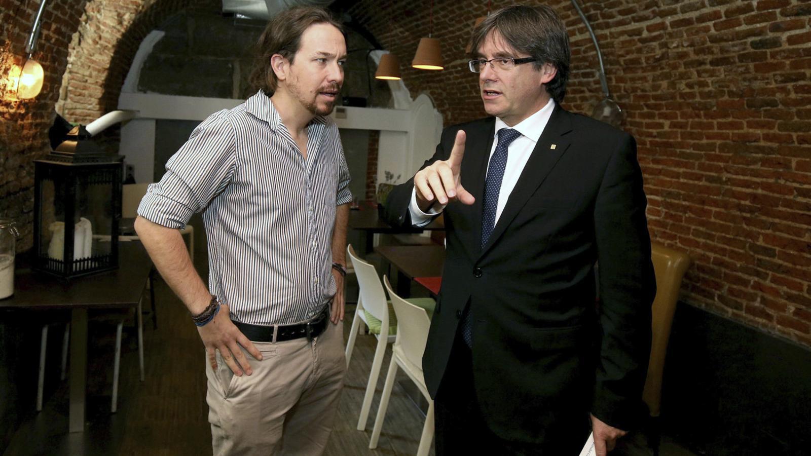 Puigdemont i Iglesias, en una trobada a Madrid el 10 d'octubre del 2016.