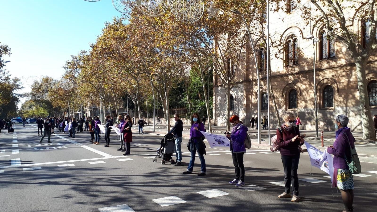 Unes 600 dones formen una cadena humana feminista a la Gran Via de Barcelona pel 25N