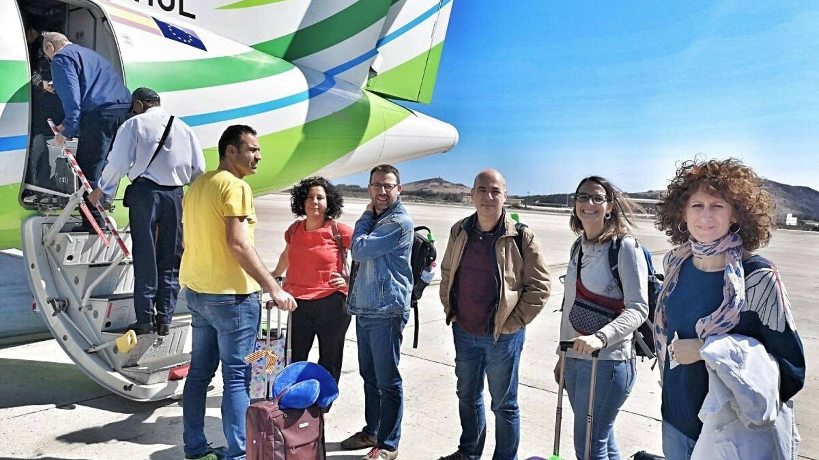 La delegació catalana que no ha pogut entrar al Marroc.