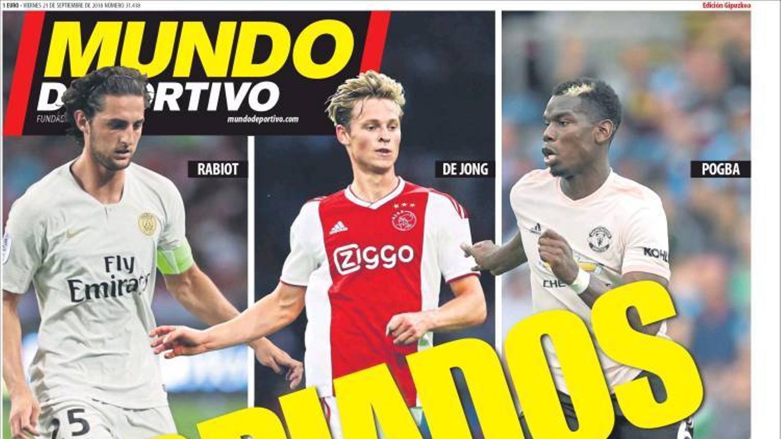 Portada 21 setembre 2018 Mundo Deportivo
