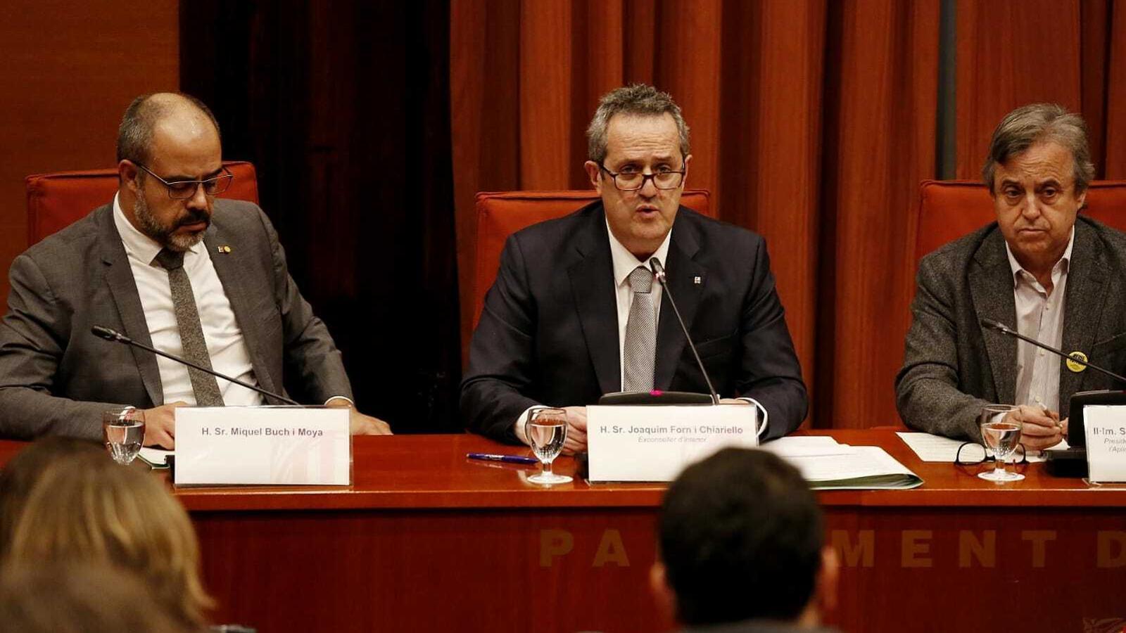 Joaquim Forn durant la seva compareixença a la comissió del 155 al Parlament