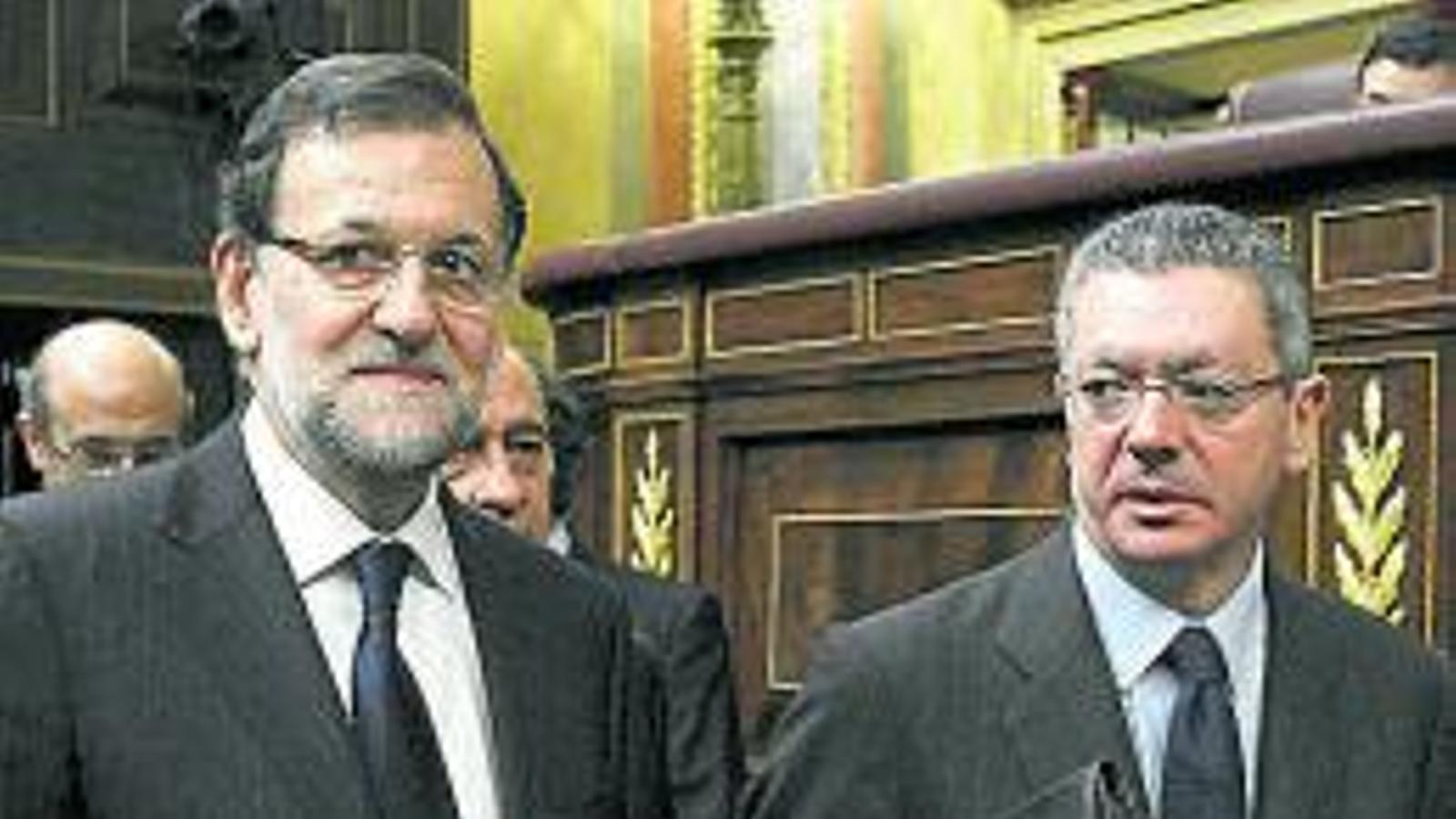 El president Mariano Rajoy amb el ministre Alberto Ruiz-Gallardón.