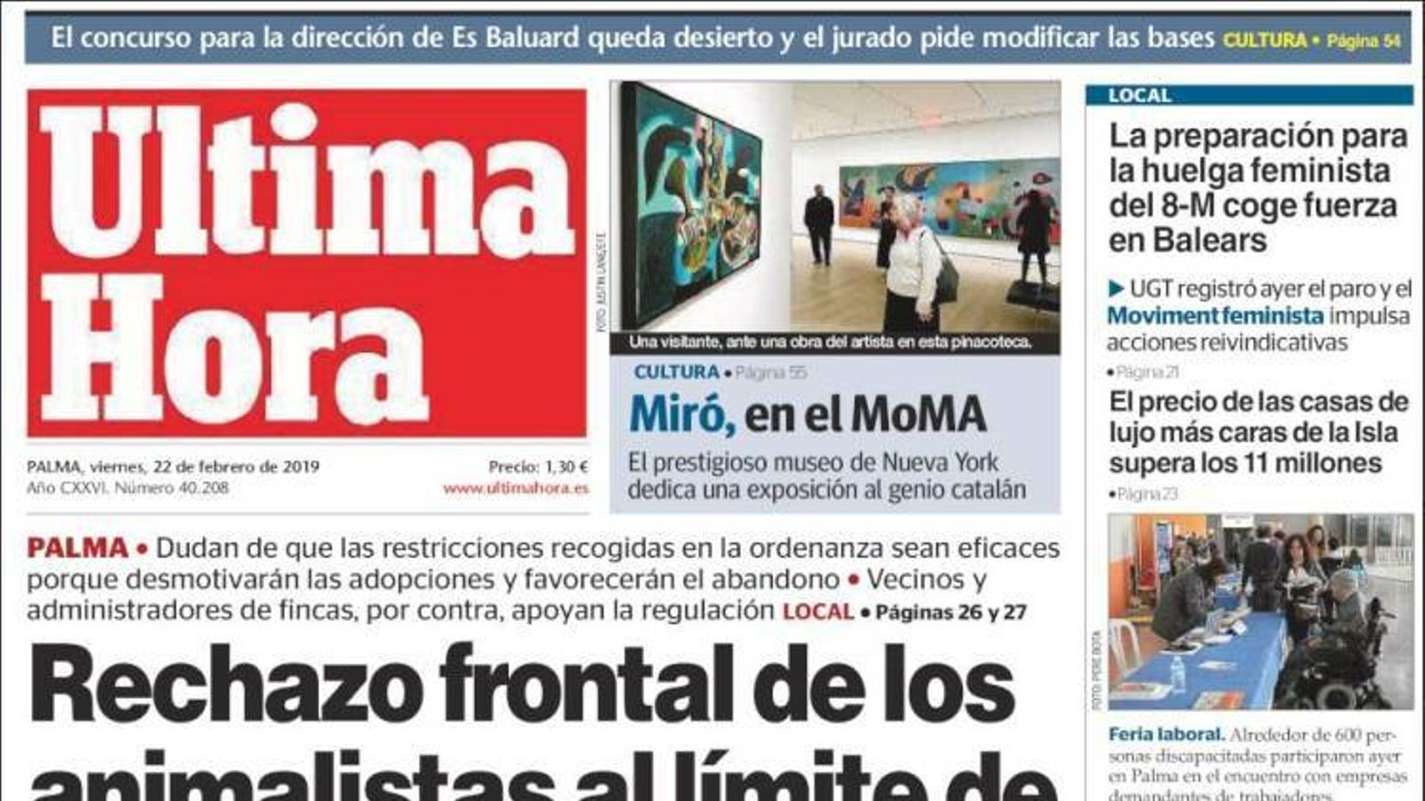 """""""Rebuig frontal dels animalistes pel límit de mascotes que fixa Cort"""", portada d''Última Hora'"""