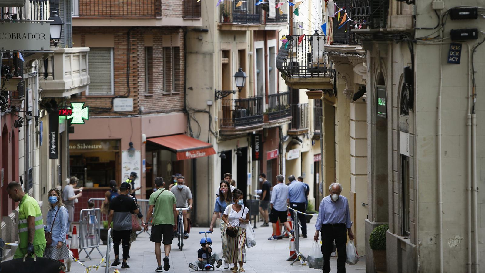 El carrer major de Sarrià aquesta setmana, en fase 1 del desconfinament
