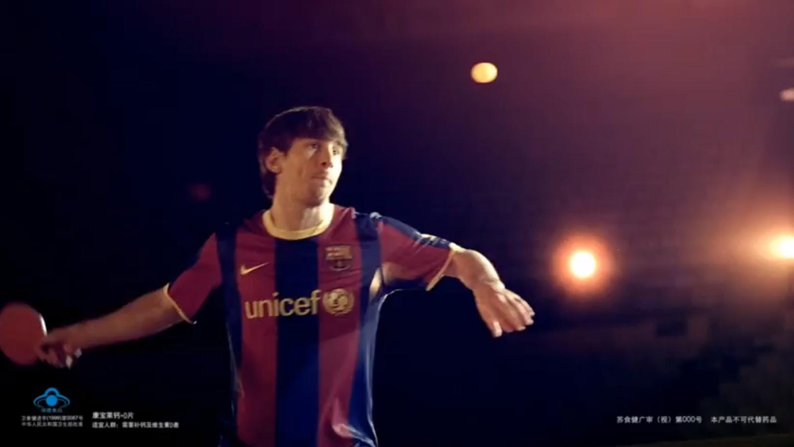 Leo Messi juga a tenis taula en un anunci