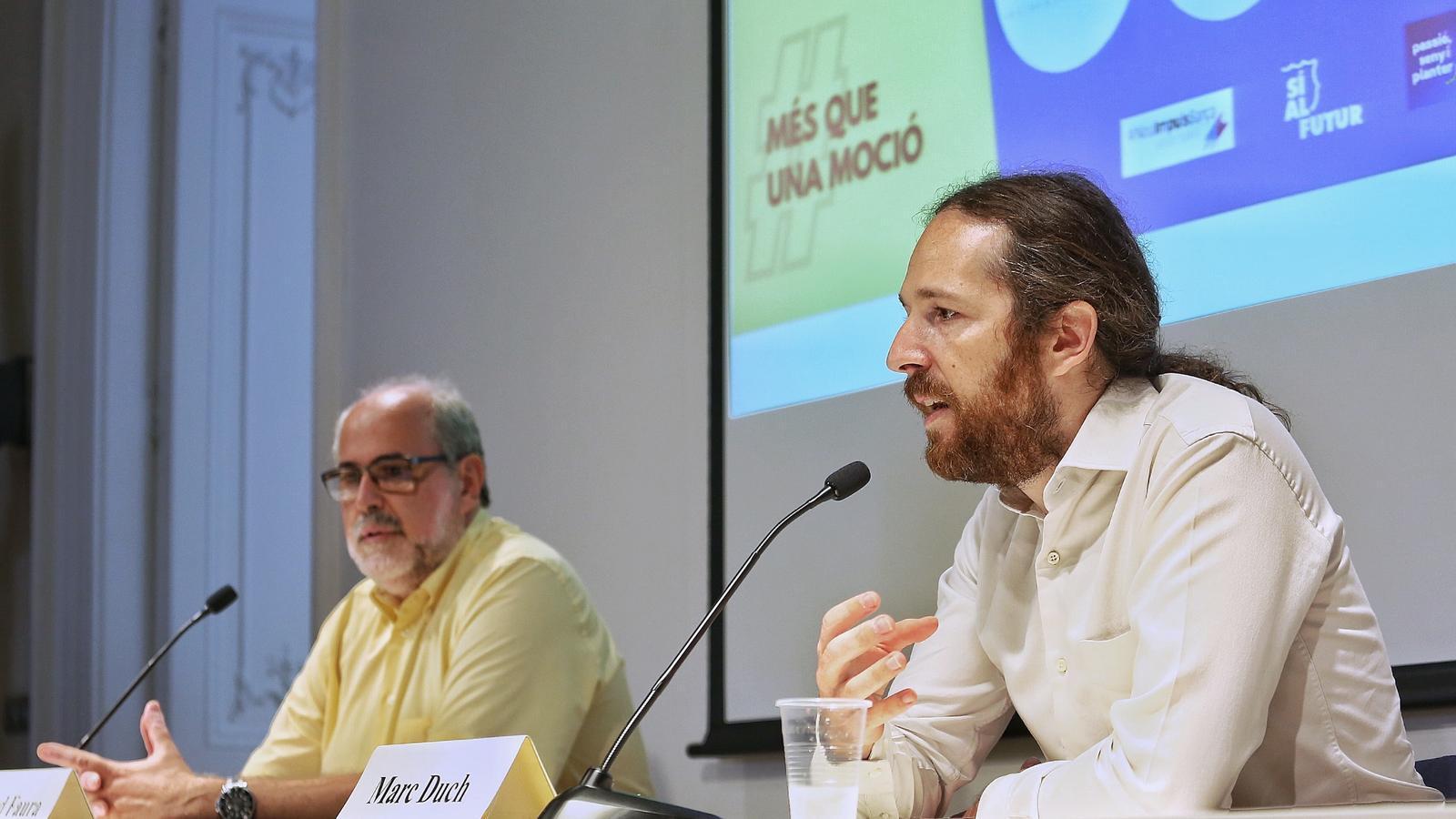 MArc Duch i Ricard Faura en la roda de premsa d'avui