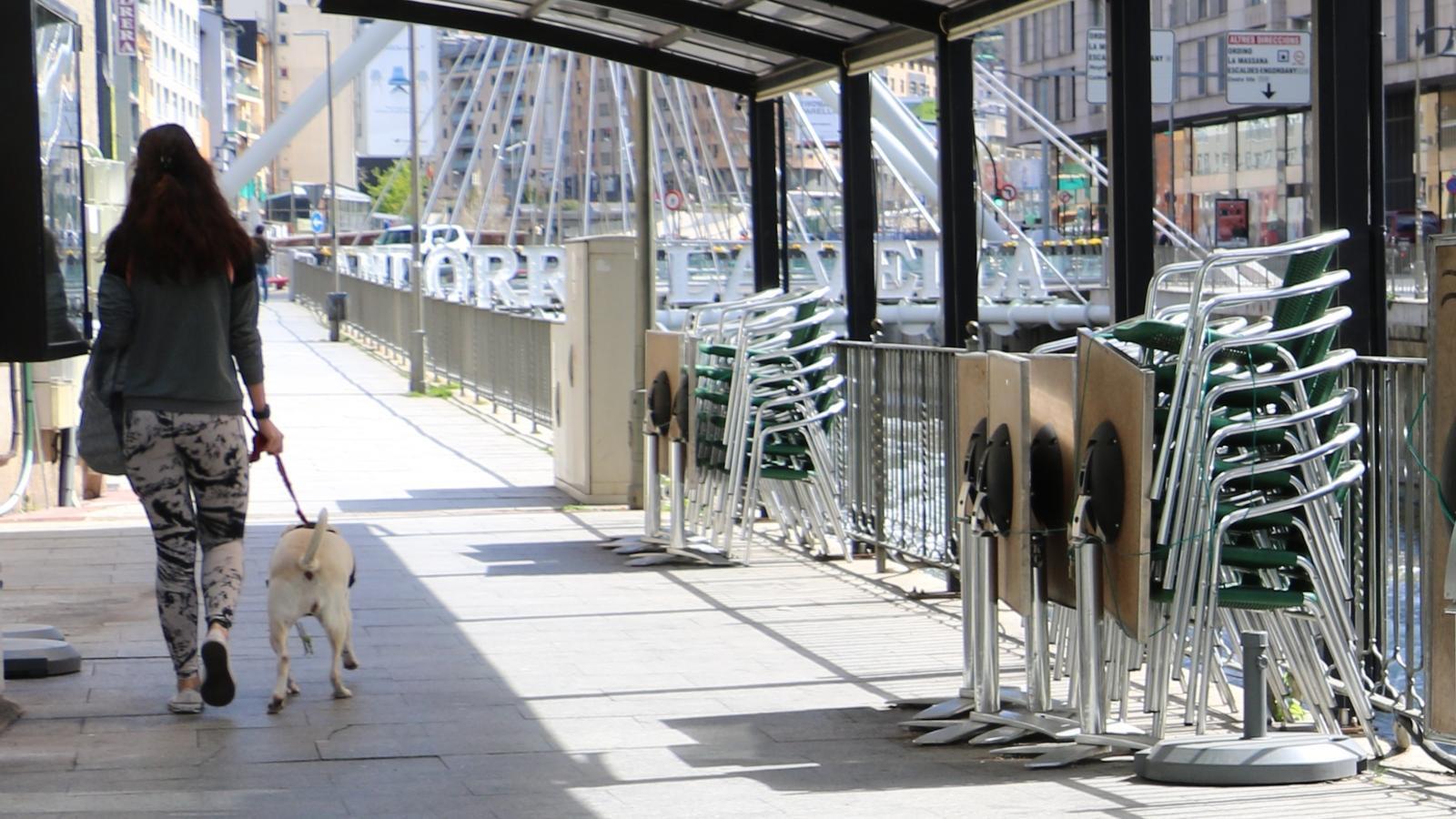 Una dona passeja el seu gos per Andorra la Vella. / ANA (E.C.)