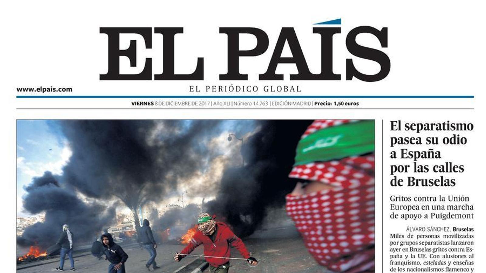 Portada d''El País' 08/12/2017