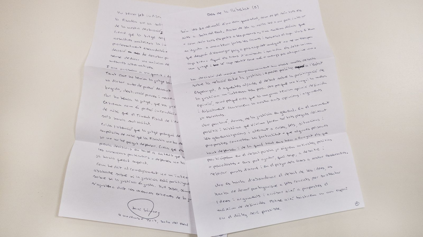 Read the second letter by Jordi Sànchez from Soto del Real prison