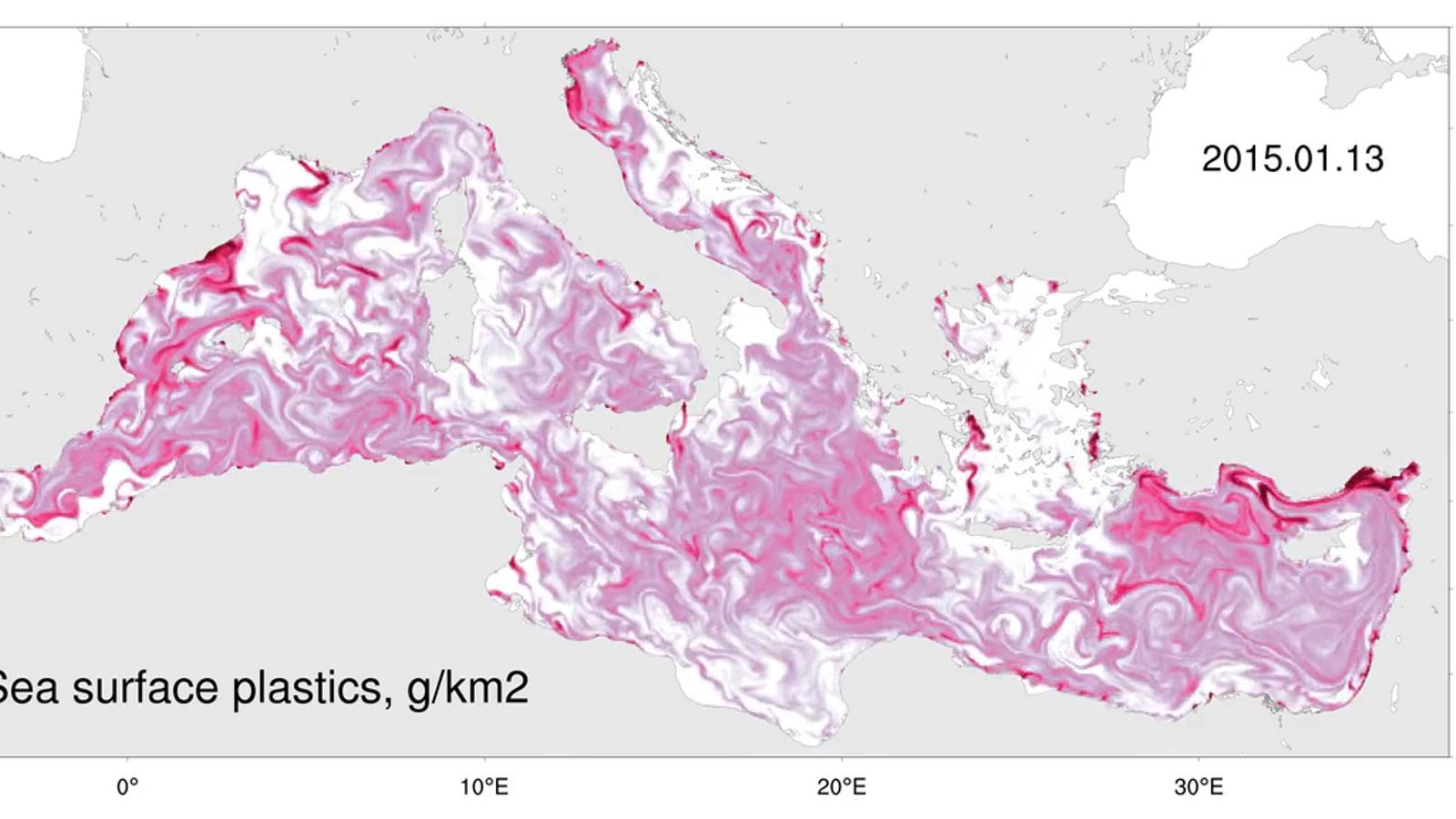 Així es mouen els plàstics pel Mediterrani