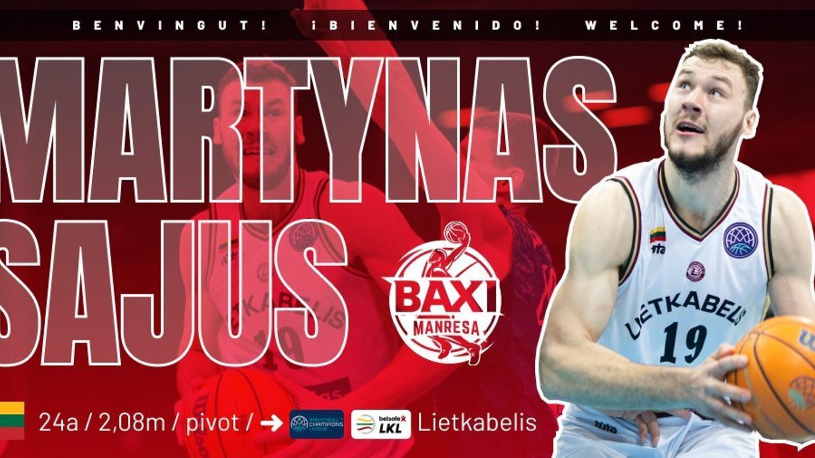 Martynas Sajus, nou fitxatge del BAXI Manresa