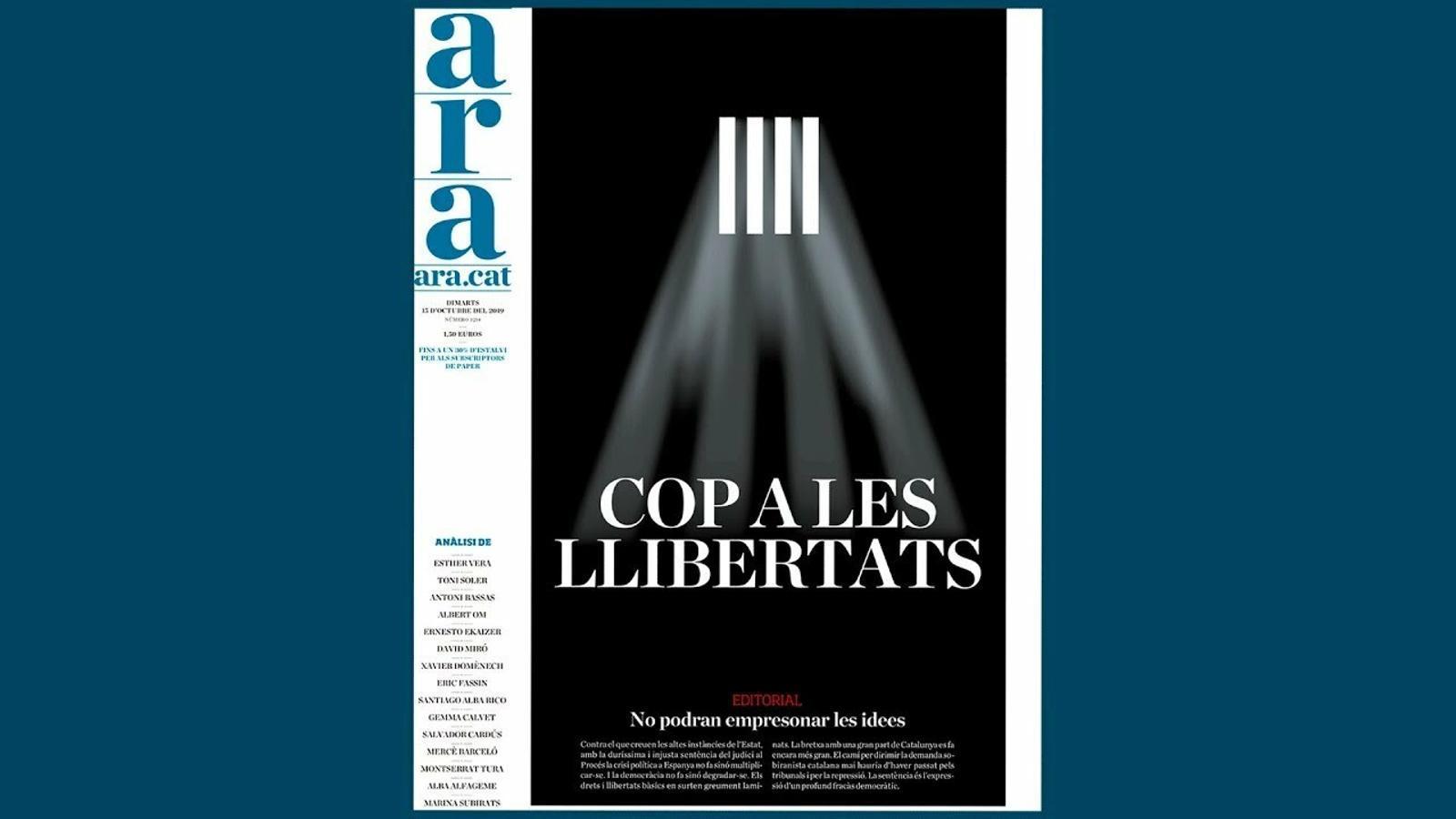 """Esther Vera explica la portada de l'ARA, """"Cop a les llibertats"""""""