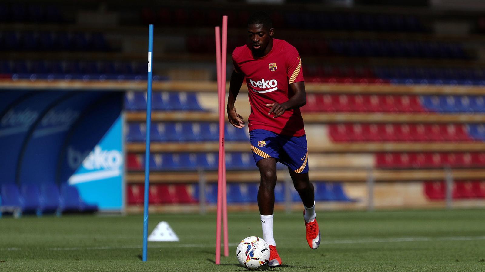 Dembélé en un entrenament amb el Barça. L'extrem francès ha estat més temps lesionat que disponible els últims tres anys.