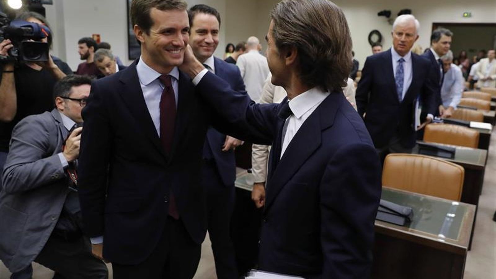 Pablo Casado amb José María Aznar aquest dimarts al Congrés.