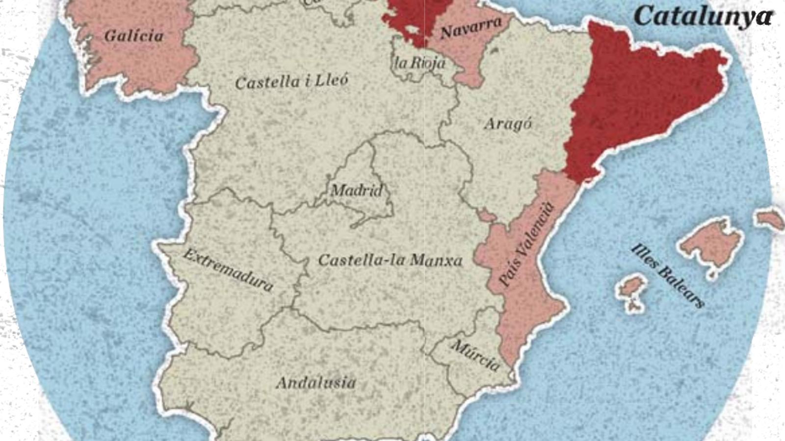 Mapa de les nacionalitats i regions d'Espanya