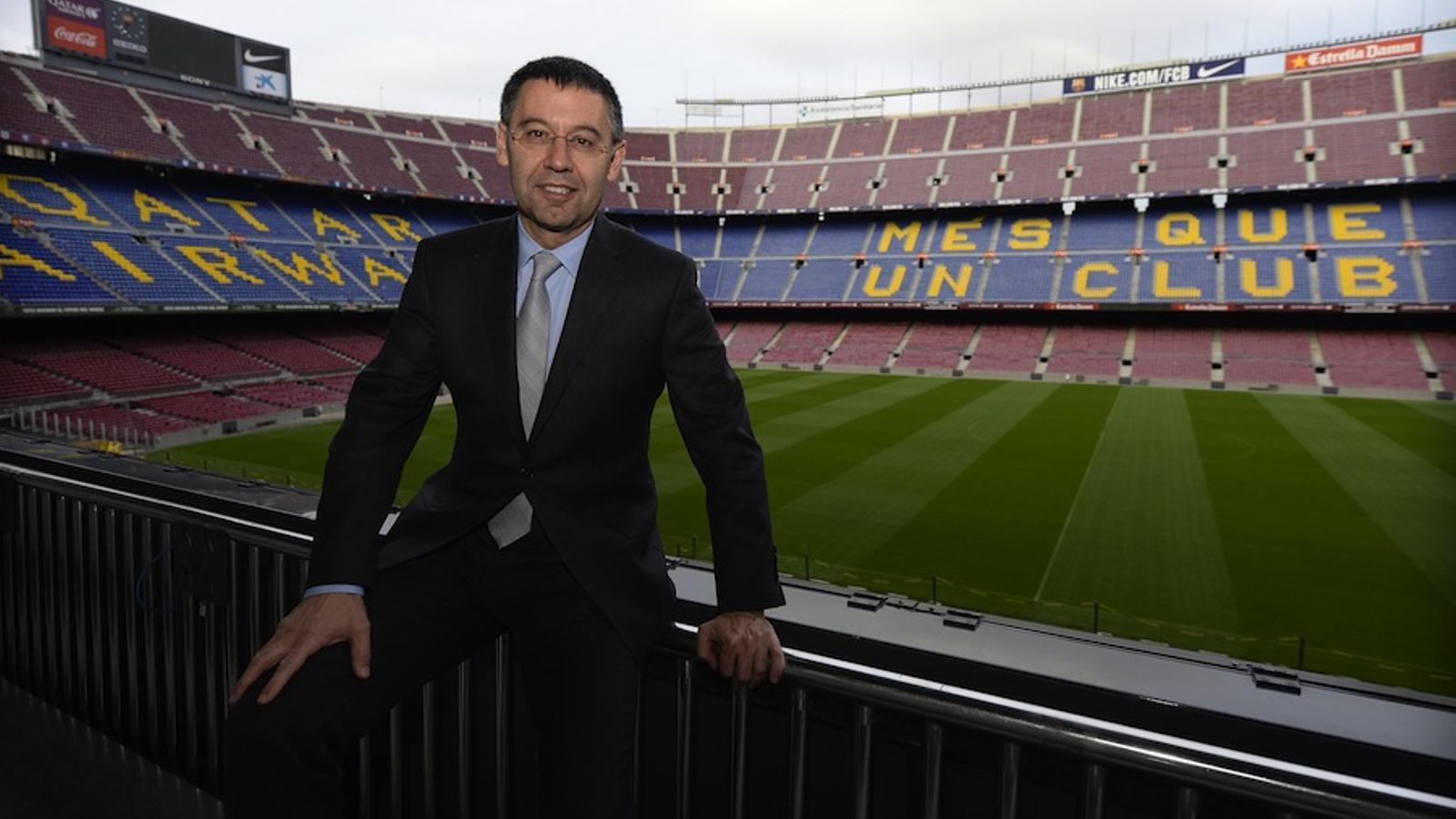 Josep Maria Bartomeu, president del Barça, al Camp Nou / LLUÍS GENÉ / AFP PHOTO