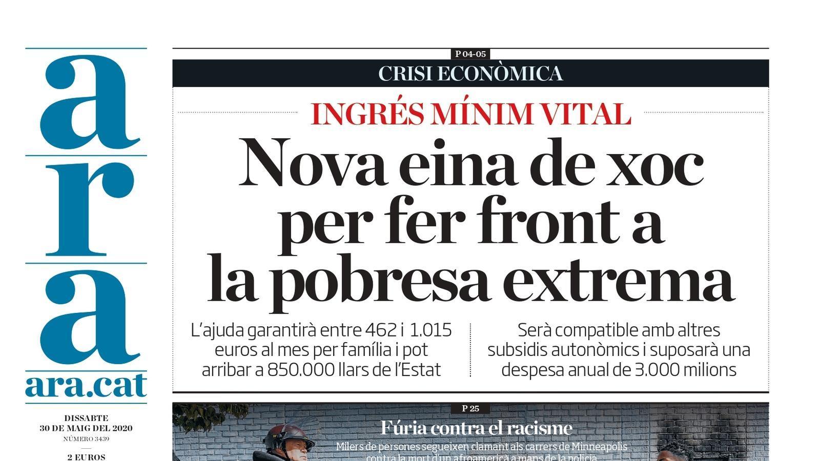 """""""Nova eina de xoc per fer front a la pobresa extrema"""", la portada de l'ARA del dissabte 30 de maig de 2020"""