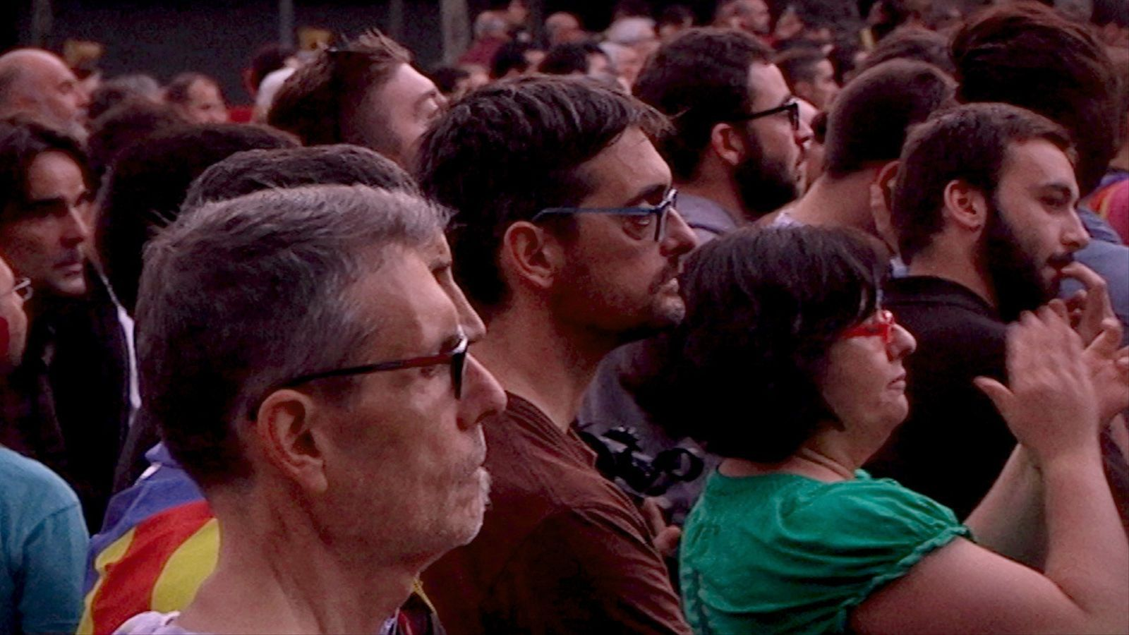 Les reaccions al passeig Lluís Companys durant la compareixença de Puigdemont
