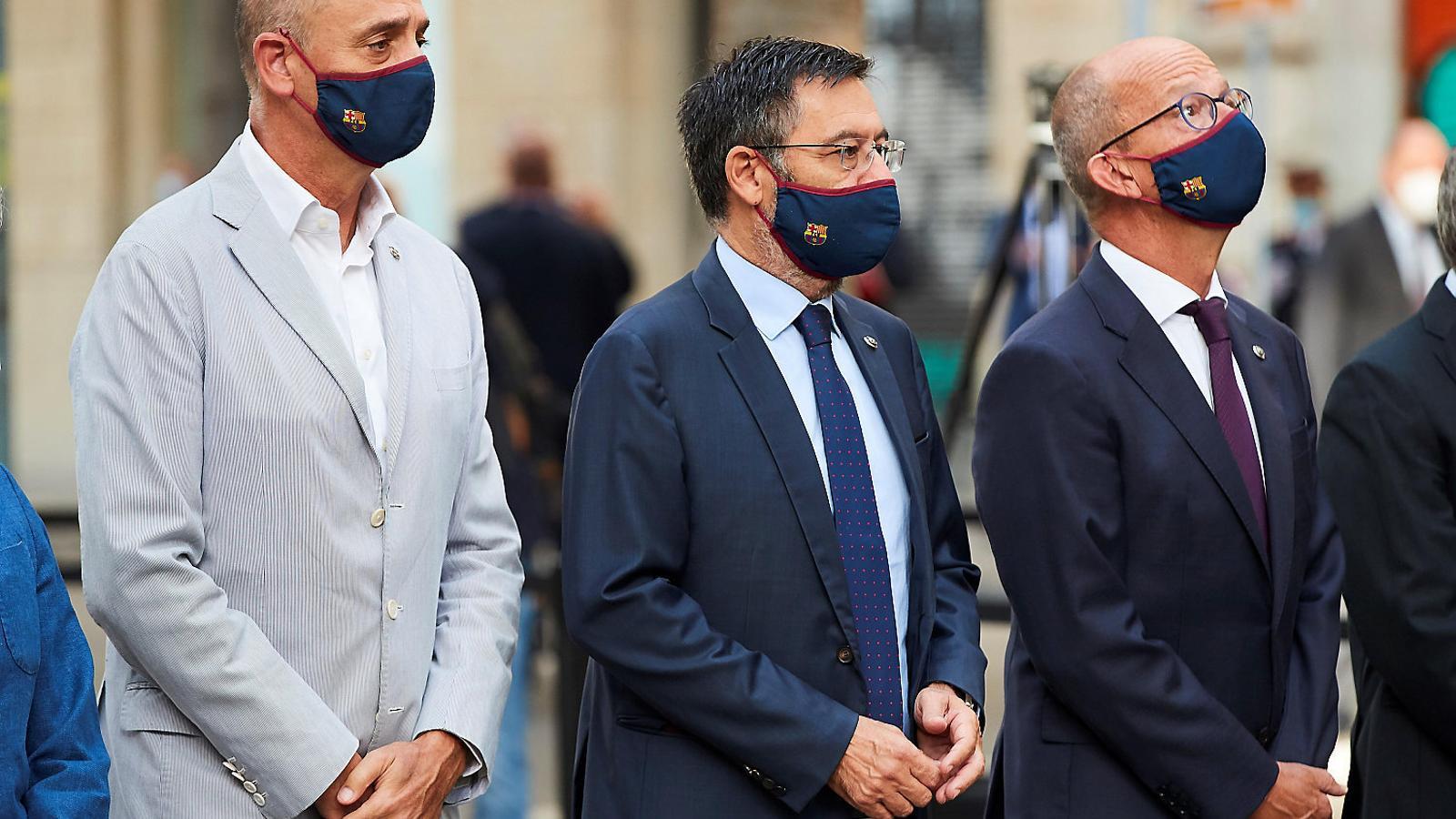 Jordi Moix, Josep Maria Bartomeu i Jordi Cardoner, als actes de la Diada.