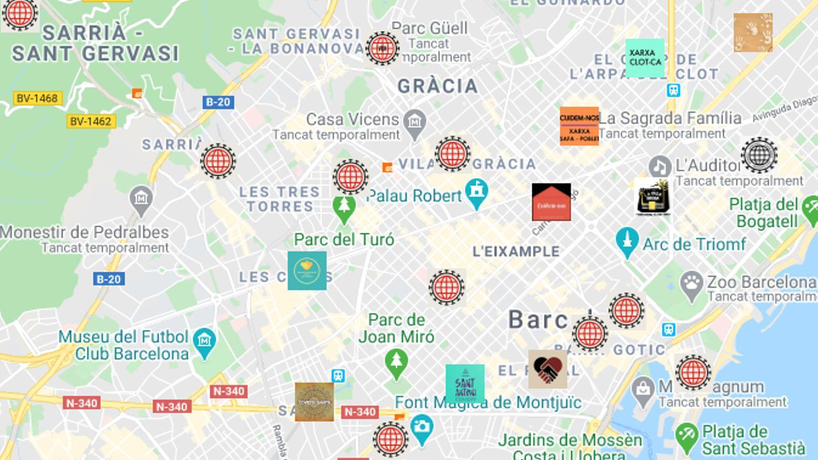 Alguns dels recursos ja disponibles a Barcelona del Banc d'Iniciatives Solidàries