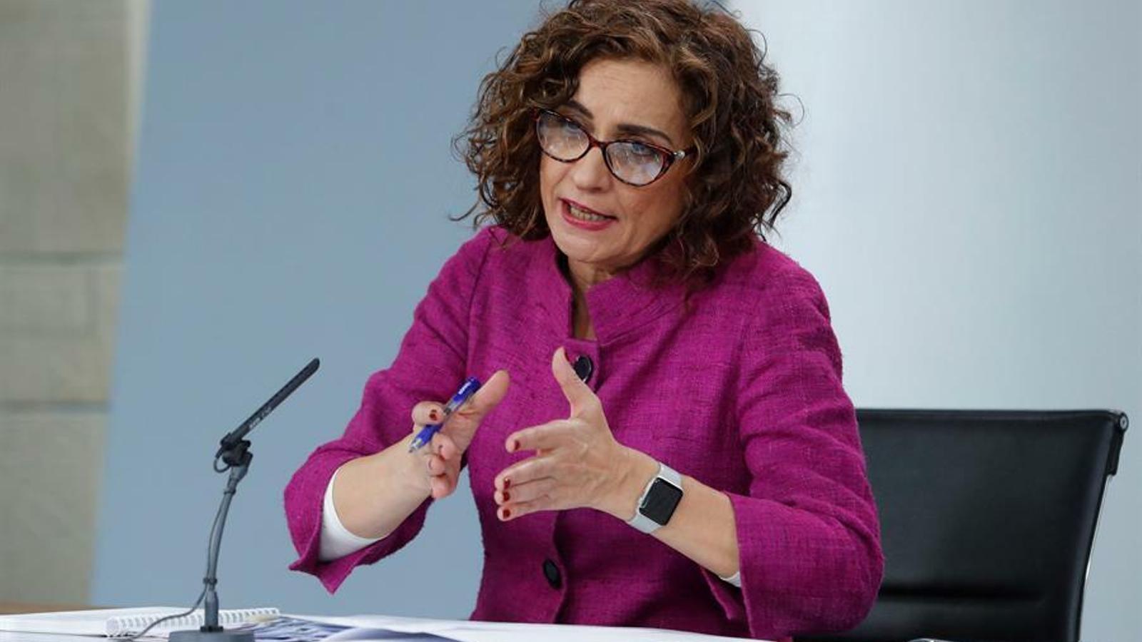 La ministra d'Hisenda i portaveu del govern espanyol, Maria Jesús Montero, en la roda de premsa posterior al Consell de Ministres d'aquest dimarts