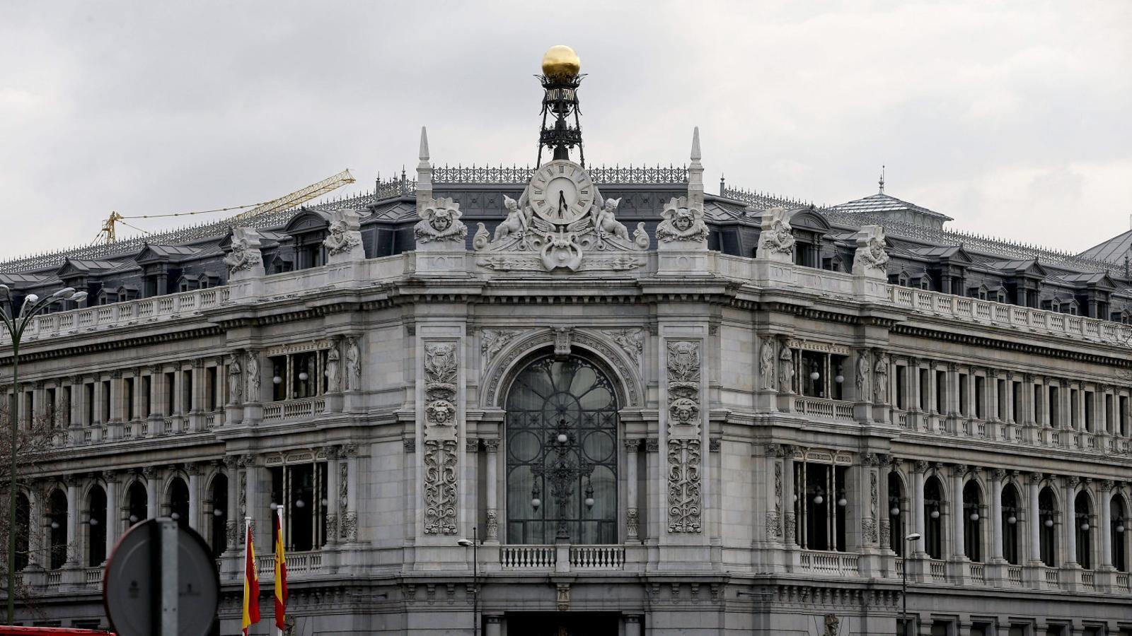 Imatge de la façana principal de l'edifici del Banc d'Espanya, a Madrid.