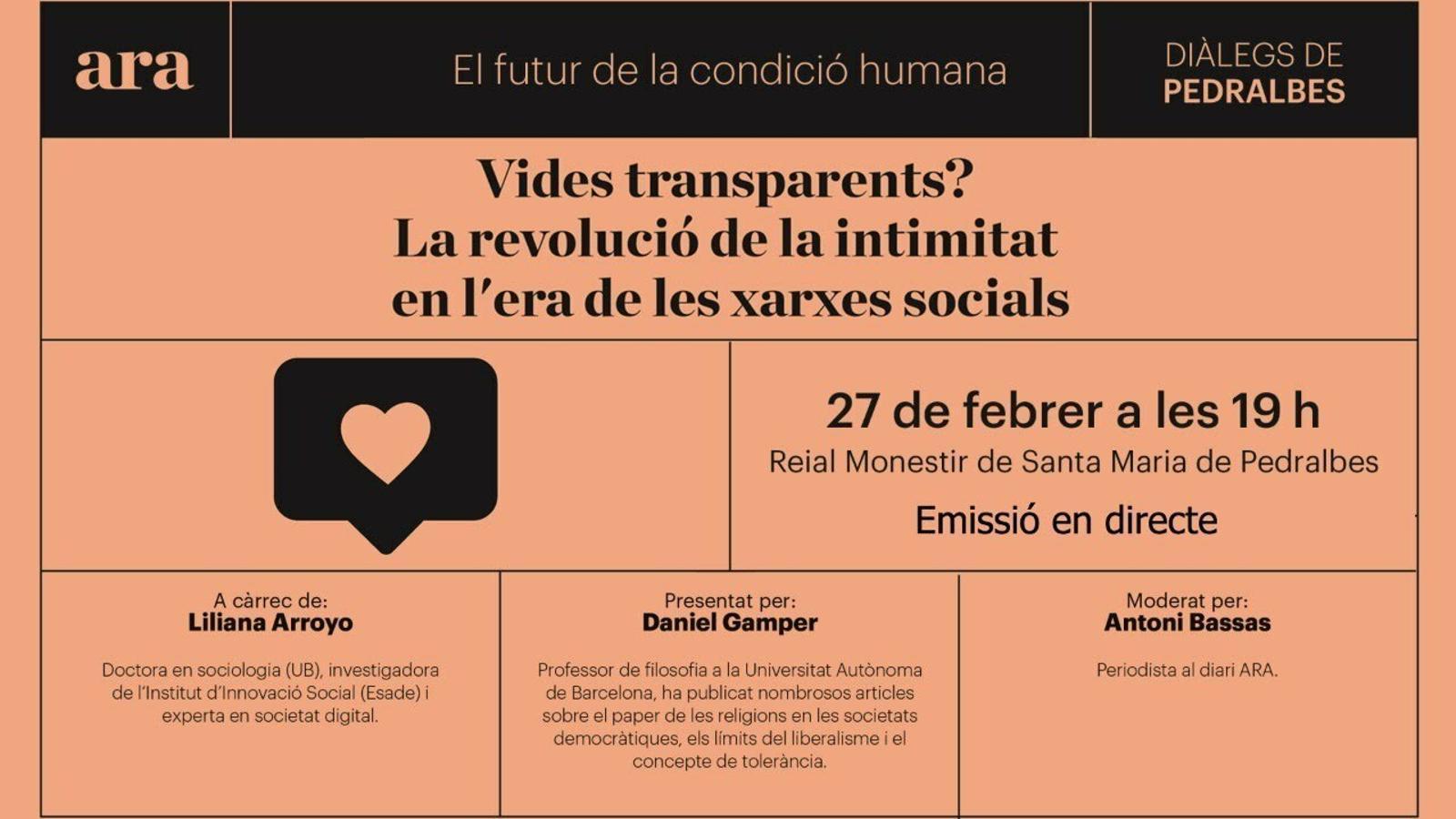'La revolució de la intimitat en l'era de les xarxes socials': Liliana Arroyo obre els 'Diàlegs de Pedralbes'