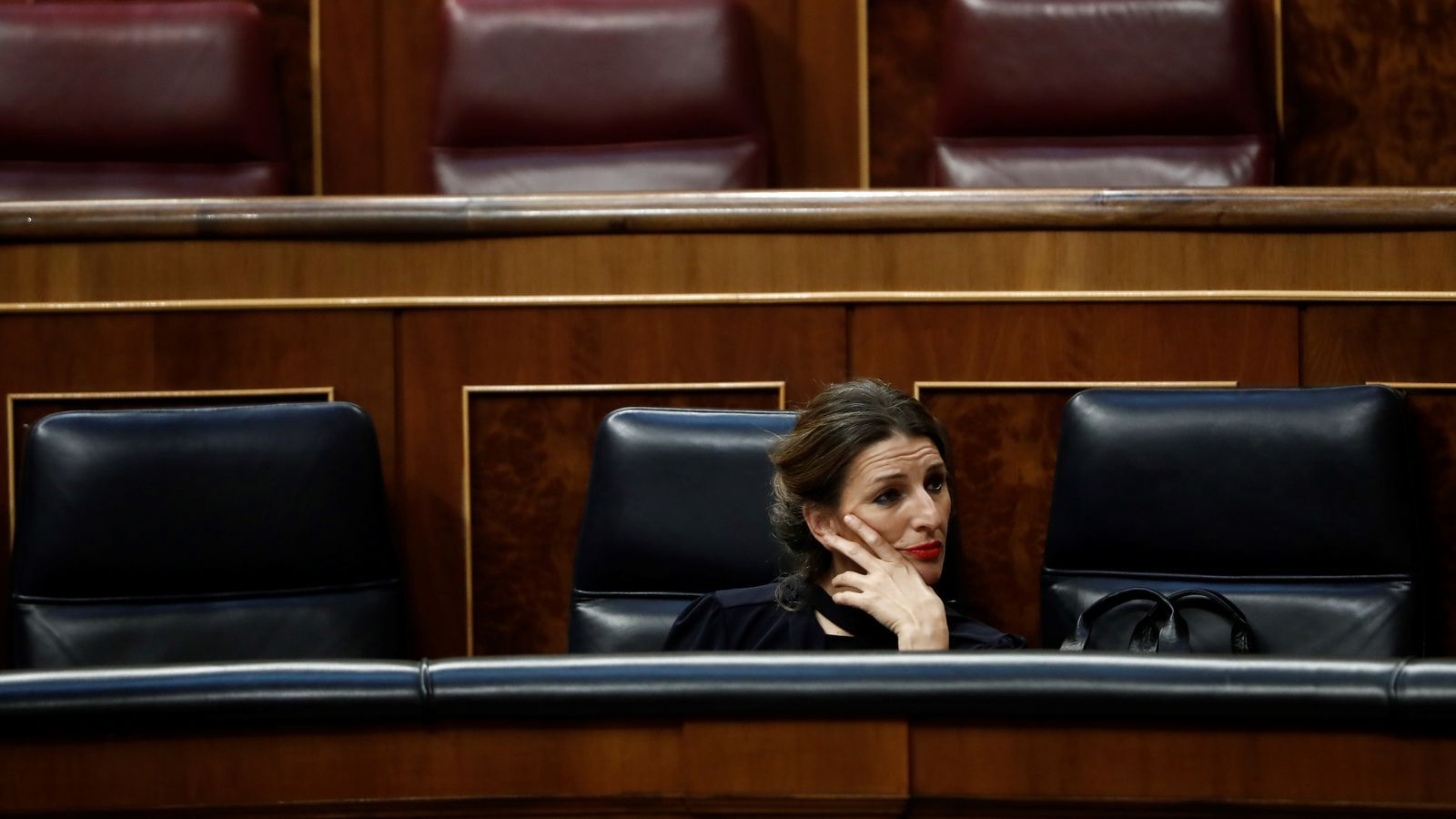 La ministra de Treball, Yolanda Díaz, durant el ple de dimecres al Congrés.
