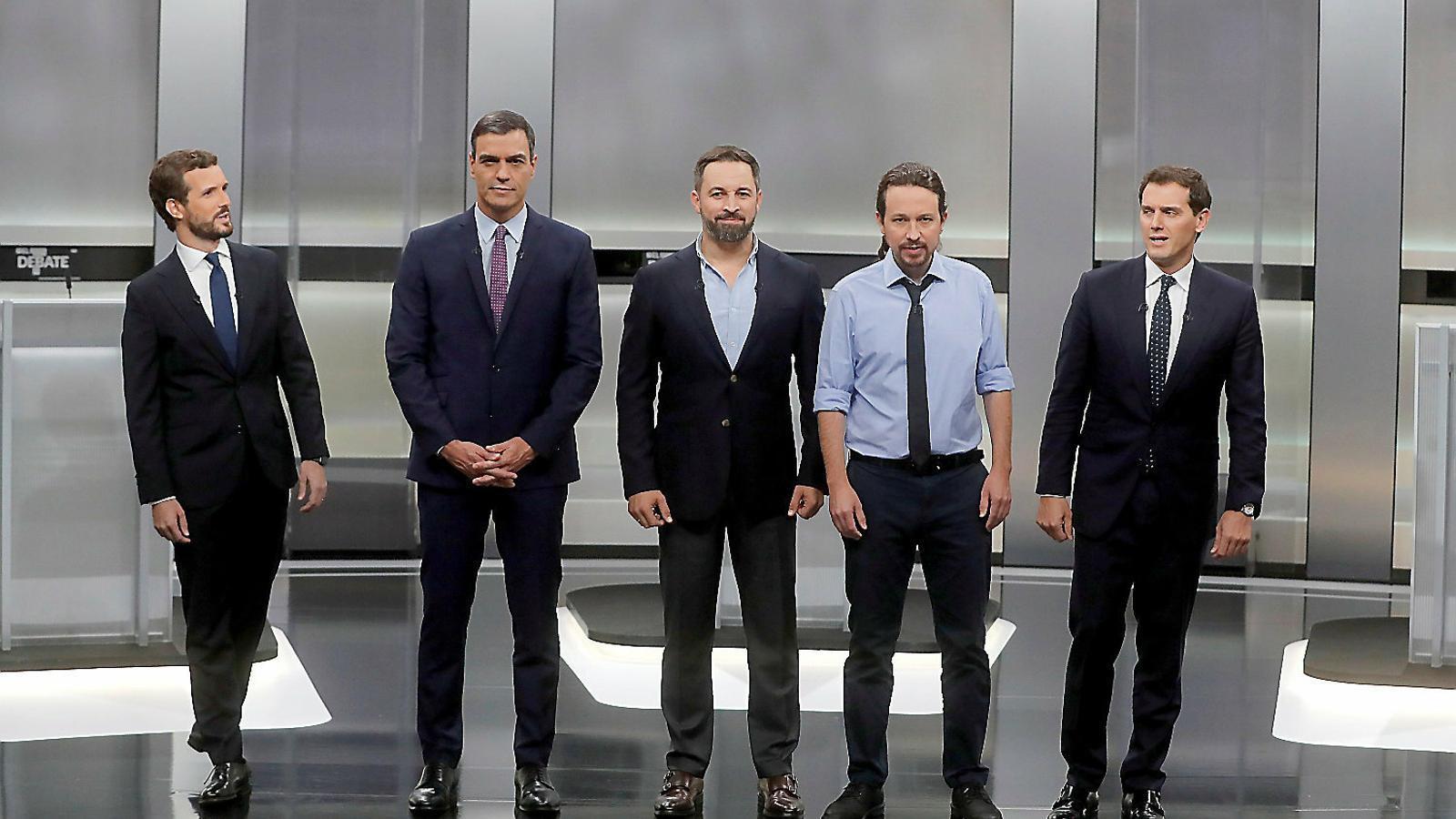 Imatge dels cinc candidats abans del debat d'ahir al Pavelló de la Casa de Campo de Madrid.