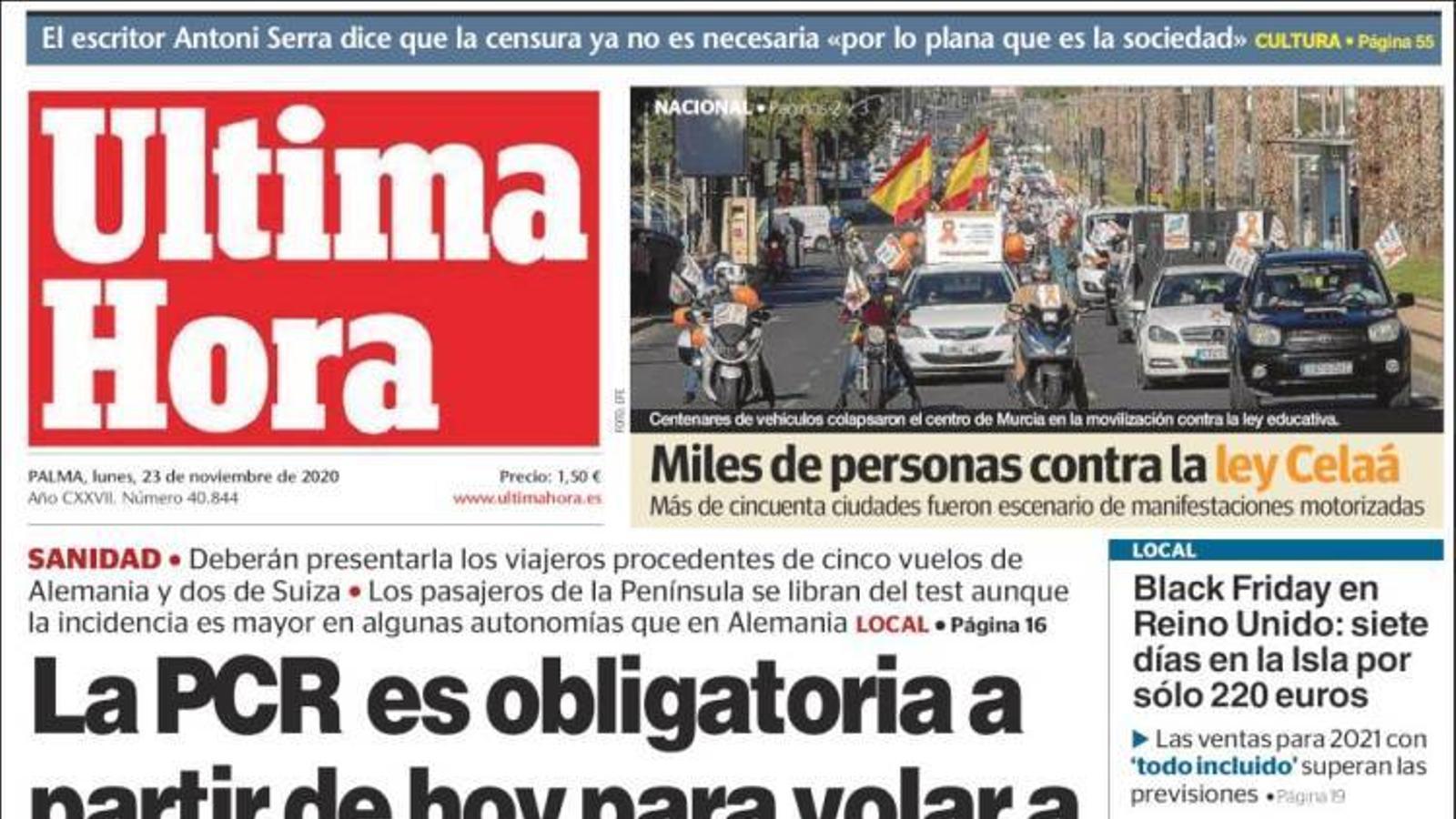 """""""Una marea taronja inunda els carrers per frenar la llei Celaá"""", portada d''El Mundo'"""