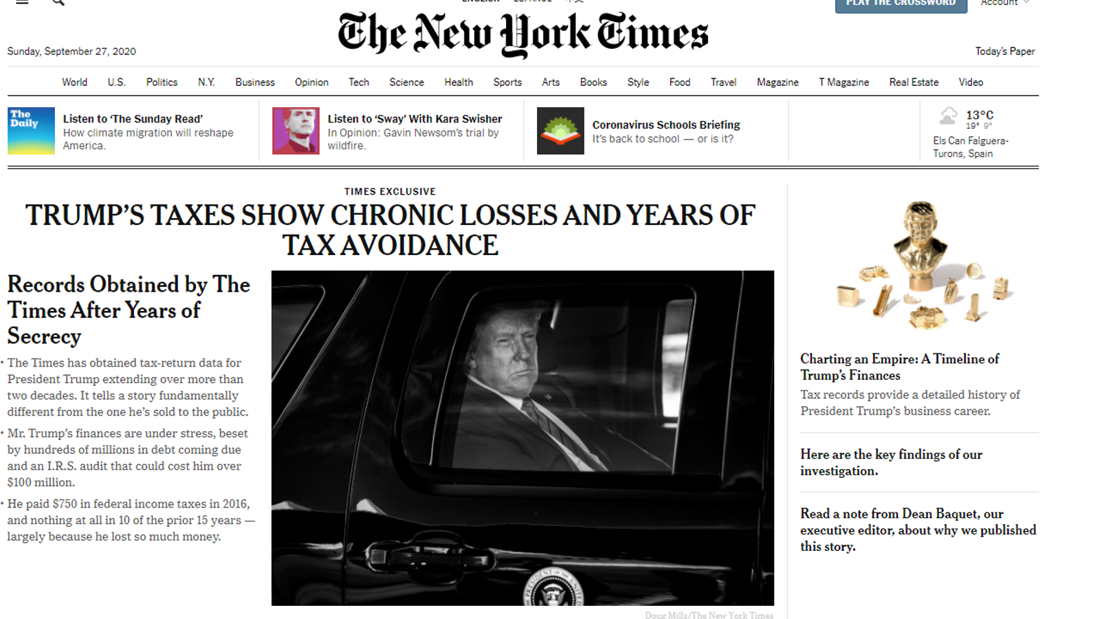 La informació publicada a The New York Times