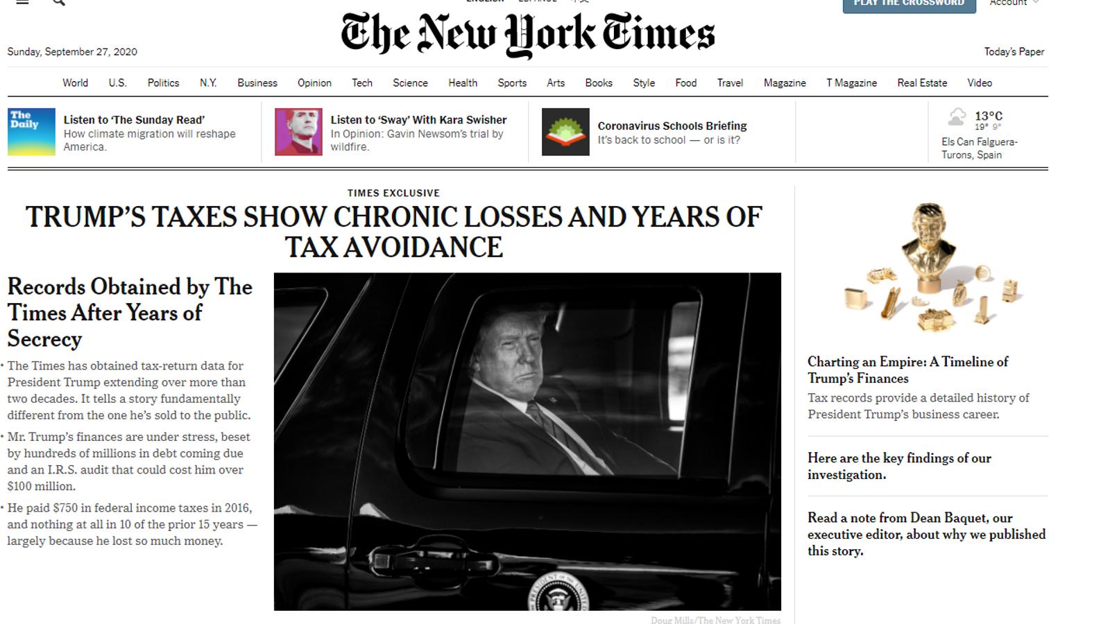 Trump no ha pagat impostos en 10 dels últims 15 anys, segons 'The New York Times'