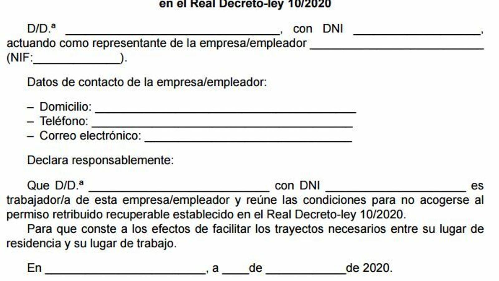 Model de declaració responsable publicat al BOE.