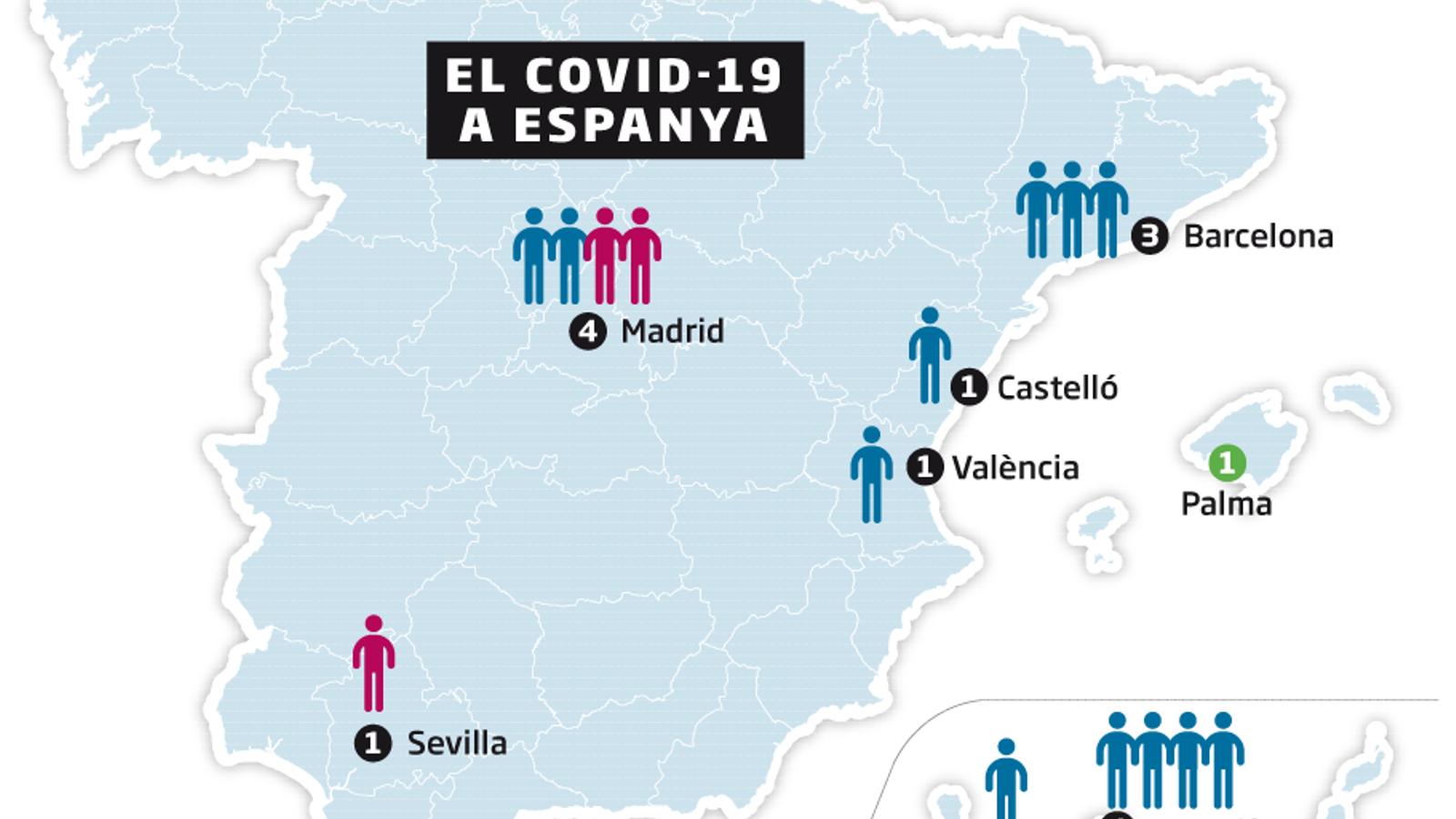 Mapa amb tots els infectats per Covid-19 a Espanya
