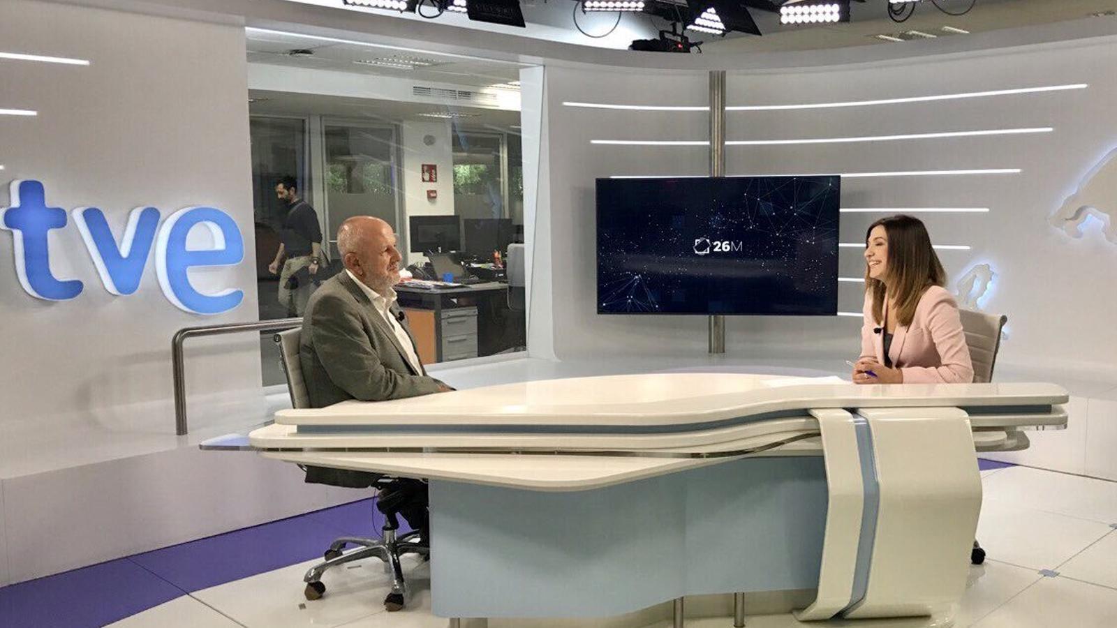El portaveu de MÉs per Mallorca, Miquel Ensenyat, en una entrevista a Televisió Espanyola de les Balears